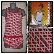 MENS SMALL VINTAGE 1970S DISCO Y-FRONTS PANTS & VEST TWIN SET NORTHERN SOUL