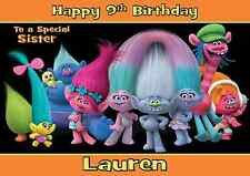 Trolls personalised A5 birthday card daughter son sister brother niece name age