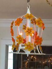 1960s 1970s Hanging Light Flower Power Vintage Chandelier White Orange Yellow