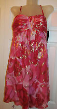 OLEG CASSINI Valentine empire waist baby doll pink red gold floral dress 4 NWT