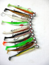 10x MB Fishing Smelt Shad 13 cm with Jig and Stinger Pike Soft bait Zander