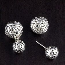 Womens 925 Sterling Silver Filigree Bali Double Ball Stud Earrings 10*15mm