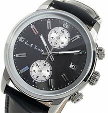 Paul Smith Mens Quartz Watch Black Dial Chronograph Display Black Leather P10031