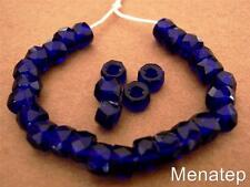 25 6 x 4mm Czech Glass Facetted Crow Beads: Cobalt