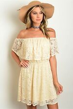 Country Cowgirl LACE CROCHET DRESS Cream oFF SHOULDER Western Gypsy Ladies Small