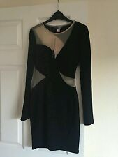 BNWT Beautiful Lipsy cut-out party/occasion dress, black/transparent, UK 6