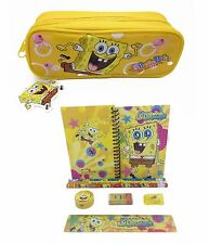 Nickelodeon Sponge-Bob Stationary Set +  Pencil Pouch for Kids