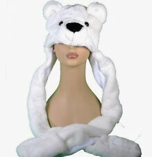 US Seller - White Polar Bear Animal Plush Hat 3in1
