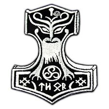 Thor's Hammer Viking Mjolnir Embroidered Iron On Patch Loki Odin Skins Applique