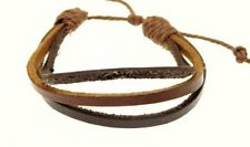 Surf Surfer Leather Triple Strap & Cord Surf Bracelet Wristband BROWN - E