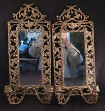 Rare Design~Pair Antique c1880 Bronze Victorian Mirrors & Wall Sconces~Aesthetic