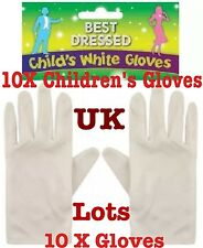 Children White Gloves Short Magician Gloves Kids Unisex Uk Lot 10X Gloves
