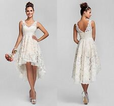 V-Neck White/Ivory short Lace Beach Wedding Dress Bridal Gown size custom 2-28