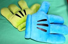 DISNEY PARKS MICKEY MOUSE PLUSH BLUE GREEN SOUVENIR COSTUME GLOVES MITTS NEW