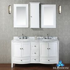 "BLOSSOM 60"" ROME DOUBLE SINK BATHROOM VANITY WITH MARBLE TOP, WHITE COLOR"