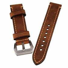 New Brown 22mm Genuine Leather Wristwatch Watch Band Watchband Stainless Buckle