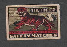Ancienne étiquette   allumettes Inde  WWW109  Tigre