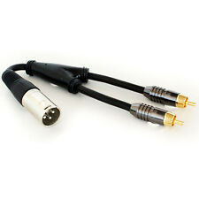 XLR Male to 2 RCA/Phono Plugs Y Splitter Cable Adapter - Mixer Amp Audio Mic DJ