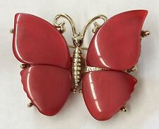 Adorable! Vintage Goldtone Thermoset Red Moonglow Lucite Butterfly Brooch