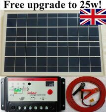 25w Solar Panel + 10A 12V Auto battery charger controller + 7m cable fuse & clip
