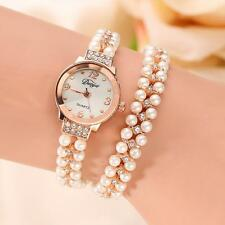 Fashion Women Watch Gold Pearl Crystal Steel Casual Bracelet Dress Wrist watches
