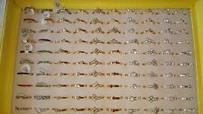 Job lot of 100 pcs Gold &Silver color Diamante Fashion Rings - NEW Wholesale