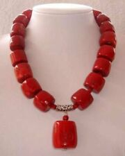 """New Amazing Red Cylinder Coral Gemstone Necklace 18"""" AAA"""