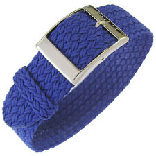 19mm Eulit PALMA Royal Blue One-Piece Woven Nylon Perlon German Watch Band Strap