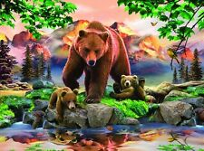 """BEAR, GRIZZLY with Cubs PLAYING on 16"""" Fabric Panel to Sew. Pic is 8""""x10"""". SALE!"""