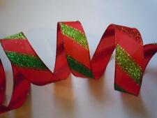 """5yd 1.5"""" Red Green Candy Cane Stripes Wired Ribbon Christmas Tree Bow Door Decor"""