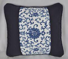"""Accent Pillow made w Ralph Lauren Porcelain Rosette & Navy Blue Fabric 12"""" x 12"""""""