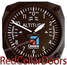 "TRINTEC CESSNA  AVIATION CLOCK 9060C ALTIMETER ALTITUDE 6.5"" SQ WALL CLOCK NEW"