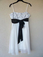 BCBG Max Azria White/ Black Short Eveniing Dress Strapless Beaded Lace Bodice 10