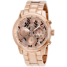 GUESS Women's U0330L16 Rose Gold-Tone Multi-Function Watch w/ Python Print Dial