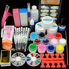 12 Color UV Gel Polish Valentine's Day Nail Art Tips Glue Brush Manicure DIY Kit