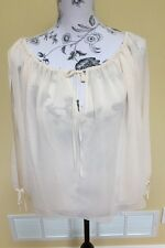 BCBG Max Azria Sheer Magnolia Open Slit Arms Blouse Size Medium