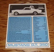1965 Ford Mustang GT 350 Sales Brochure Sheet 65 Shelby