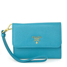 Prada Small Saffiano Leather Wallet - Celeste