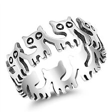 USA Seller Baby Cats Band Ring Sterling Silver 925 Best Deal Jewelry Size 5