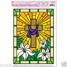 1 EASTER Decoration WINDOW CLINGS Religious CROSS STAINED GLASS CLING