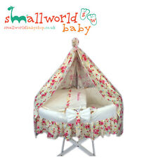 Personalised Cream And Scone Moses Basket Cover Set With Skirt And Drape