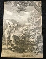 16th Century Engraving By J.Saenredam& A.Bloemaert Plate #5 Adam And Eve Working
