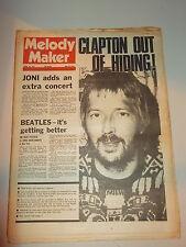 MELODY MAKER 1974 APRIL 20 JONI MITCHELL ERIC CLAPTON BEATLES GREG ALLMAN