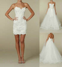 Two in One Short Bridal Gown Detachable Lace Skirt Wedding Dress Custom US 2-16