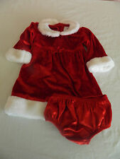 Wonder Kids Toddler Girl Christmas Dress Size 18 Month Red Velvet Faux Fur