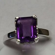 Natural Emerald Cut 4ct Purple Amethyst 925 Solid Sterling Silver Ring sz 8.75