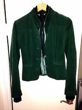 RARE Fitted ELIE TAHARI Green Corduroy Mock Neck Sweater Jacket Coat XS X-Small