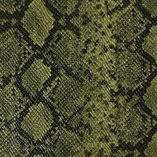 "54"" Wide Faux Python Snake Skin Leather Grass Green Fabric By The yard"