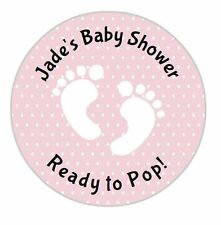 24 Personalised Stickers Baby Shower Pink Baby Feet Footprints Round Labels