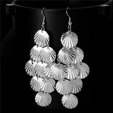 Women Gold &Silver Shell Chandelier Drop Dangle Earrings Jewelry